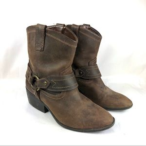 Western booties leather brown mossimo supply 6.5